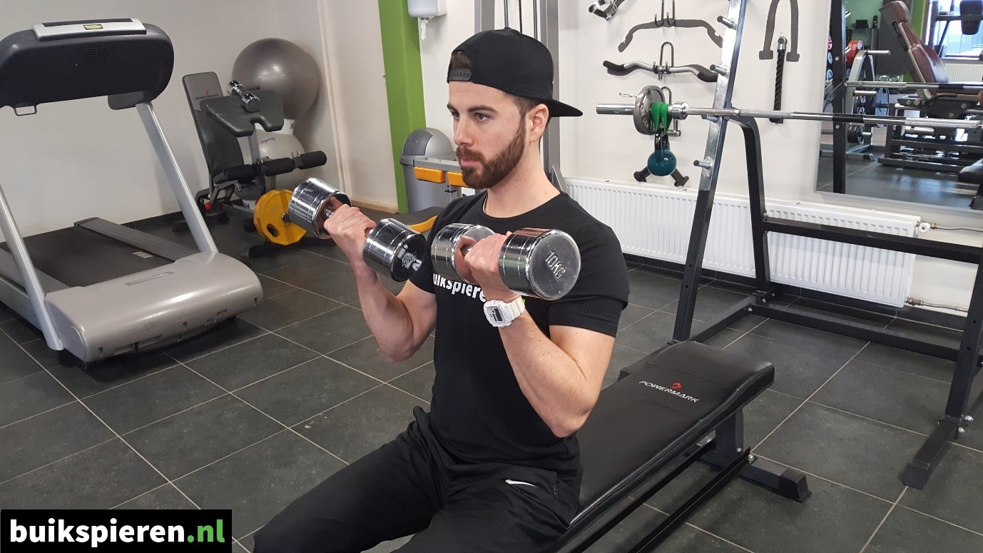 Seated dumbell curl eindhouding