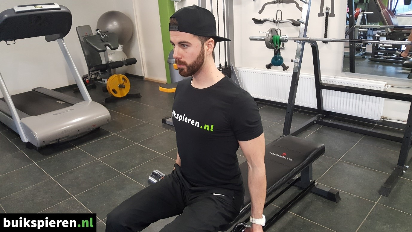 Seated dumbell curl beginhouding